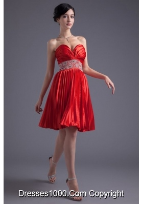 Sweetheart Princess Graduation Dress in Red with Beading and Pleats