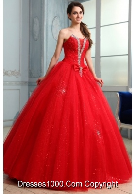 Paillettes and Bowknot Decorated Red Tulle Sweet Sixteen Dresses