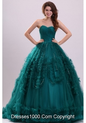 Elegant Teal Color Beaded Sweetheart Quinceanera Dresses