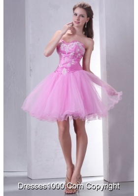Mini-length Sweetheart Rose Pink Appliqued Prom Dress in Tulle