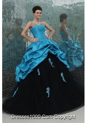 Sassy Aqua Blue and Black Pick Ups and Appliques Sweet 16 Dress