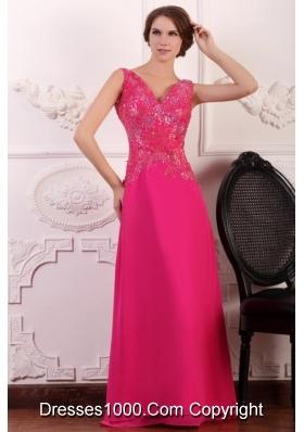 Sleeveless Empire Waist V-neck Embellished Hot Pink Prom Dress