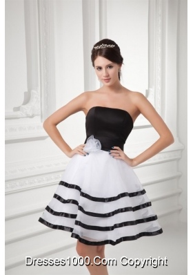 Mini-length Evening Dresses in White and Black Bow