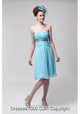 Straps Ruched Beading Blue Chiffon Lovely Prom Party Dress