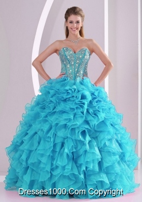 Baby Blue Sweetheart Ruffles and Beaded Decorate 2014 Elegant Quinceanera Dresses