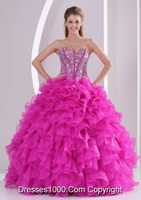 Fashionable Sweetheart 2014 Hot Pink Quinceanera Gowns with Ruffles and Beading