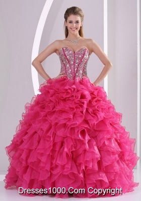 Hot Pink Ruffles and Beading Sweetheart Organza Red Quinceanera Gowns
