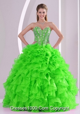 Spring Green Ball Gown Sweetheart Popular Quinceanera Gowns with Beading and Ruffles