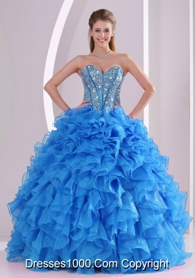 Teal Blue Beautifu Sweet 15 Dress with Fuffles and Beading Ball Gowns for You
