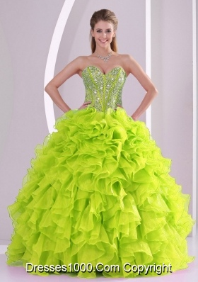 2014 Spring Cute Yellow Green Ruffles and Beading Quinceanera Dresses
