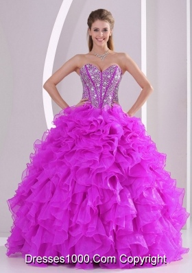 Fuchsia Sweetheart Ruffles and Beaded Decorate Quinceanera Gowns in Sweet 16