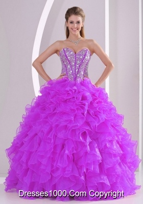 Popular Sweetheart Organza 2014 Fuchsia Quinceanera Gowns