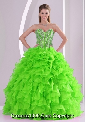New Arrival 2014 Spring Puffy Sweetheart Beading Quinceanera Dress with Lace Up