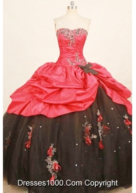 Cheap ball gown sweetheart-neck floor-length taffeta appliques quinceanera dress