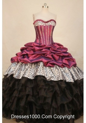 Elegant Ball Gown Sweetheart Floor-length  Taffeta Quinceanera Dress