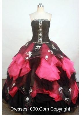 Exquisite Ball Gown Strapless Floor-length Fuchsia Organza Appliques Quinceanera dress