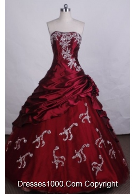 Exquisite Ball Gown Strapless FLoor-Length Red Beading And Appliques Quinceanera Dresses