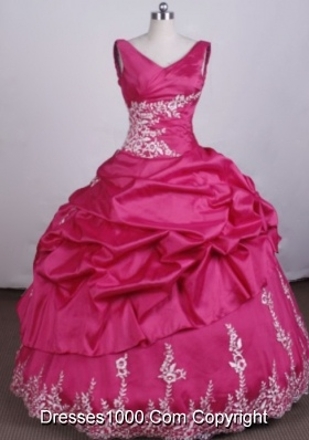 Fashionable Ball Gown V-Neck Floo_length Appliques Tffeta Hot Pink Quinceanera Dresses