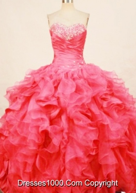 Fasshionable ball gown sweetheart organza beading coral red quinceaenra dress