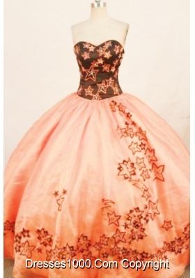 Modern ball gown sweetheart-neck floor-length rust red quinceanera dress