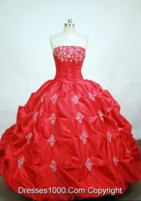 Elegant ball gown strapless floor-length  red taffeta appliques quinceanera dress