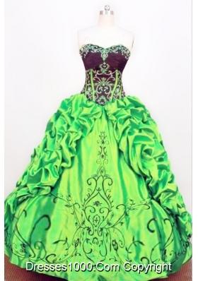 Exquisite Ball gown Strapless Floor-length Taffeta Green Quinceanera Dress