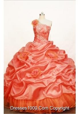 Gorgeous Ball gown One shoulder neck Floor-length Taffeta Orange Quinceanera Dress