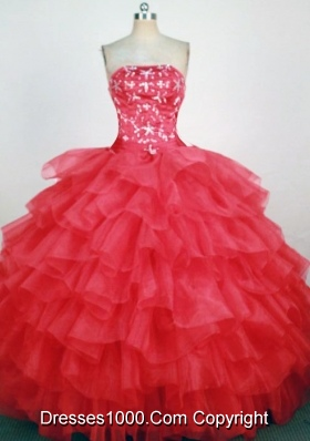 2013 Luxurious Ball Gown Strapless Floor-Length Hot Pink Beading Quinceanera Dresses