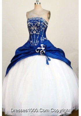 Fashionable Ball Gown Strapless Blue Beading and Appliques Quinceanera Dresses