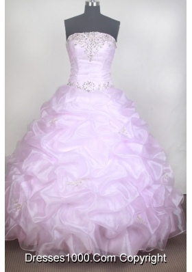 Romantic Ball Gown Strapless Floor-length Baby Pink Quinceanera Dress