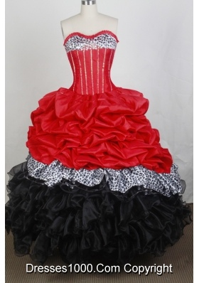 New Ball Gown Sweetheart Floor-length Red And Black Quincenera Dresses