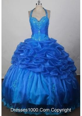 2012 Exquisite Ball Gown Halter Top Floor-Length Quinceanera Dress
