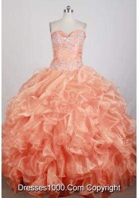 Popular Ball Gown Strapless Floor-length Orange Quinceanera Dress