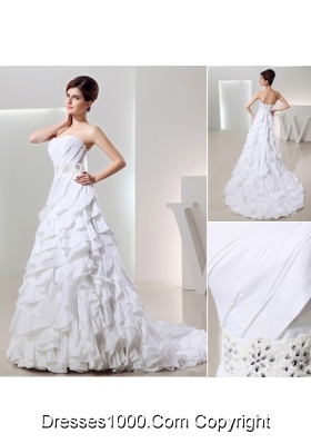 Beautiful Ball Gown Sweetheart Ruffled Layers Wedding Dress in White