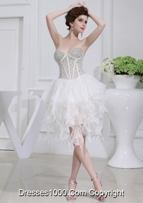 2014 A-line Sweetheart Sequins Ruffles Wedding Dress With Knee-length
