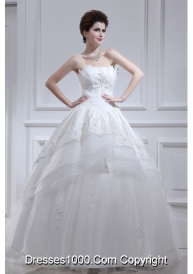 2014 Cheap A-line Strapless Beading Wedding Dress with Floor-length