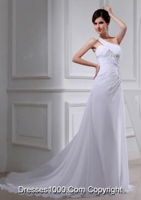 2014 Elegant Coulmn One Shoulder Wedding Dress with Appliques