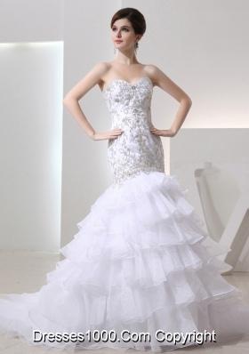 2014 Popular Mermaid Sweetheart Ruffled Layers Wedding  Dress with Lace