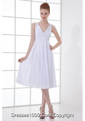 2014 Spring A-line V-neck Knee-length Chiffon Wedding Dress with Ruching