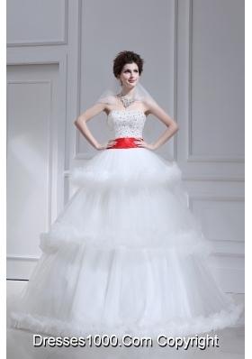 2014 Spring Beautiful Ball Gown Strapless Beading Ruffled Layers Chapel Train Wedding Dress