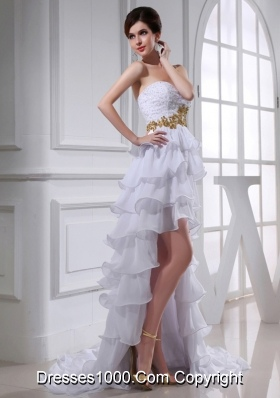 2014 Spring Empire Sweetheart Ruffled Layers Chiffon High-low Wedding Dress