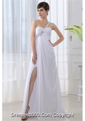 Elegant Empire One Shoulder Ruching Appliques High Slit Brush Train Wedding Dress