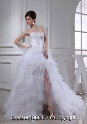 Elegant Princess Ruffled Layers and Appliques Wedding Dress with Sweetheart