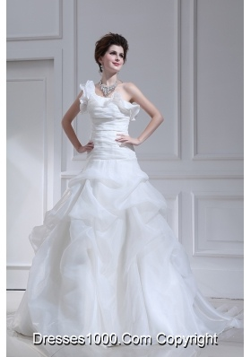 Princess One Shoulder Court Train Wedding Dress with Pick-ups and Ruching