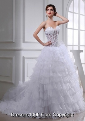 2014 Spring A-line Sweetheart Organza Appliques Ruffled Layers Wedding Dress
