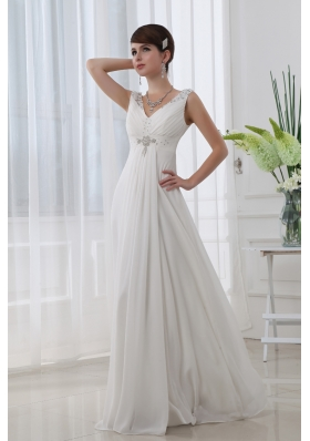 Discount Empire V Neck Floor Length Chiffon White Wedding Dress With Beading