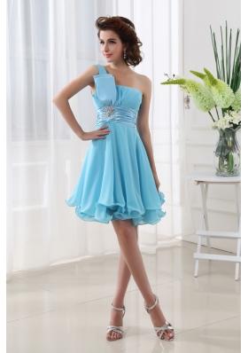 A-line Aqua blue One Shoulder Beading and Ruching Chiffon Prom Dress