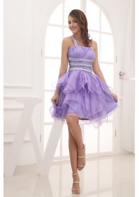 A-line One Shoulder Lavender Beading and Ruching Short Prom Dress