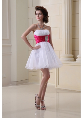 A-line Strapless Beading and Ruching Organza White Prom Dress
