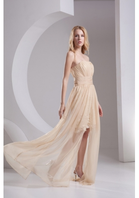 Empire Champagne Strapless Chiffon Prom Dress with Ruching
